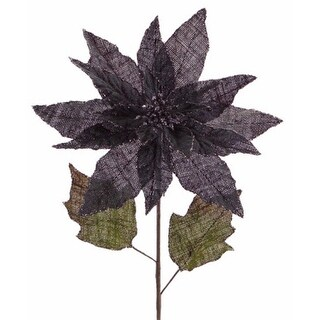 """Pack of 12 Artificial Dark Gray and Green Burlap Christmas Poinsettia Stems 32"""""""
