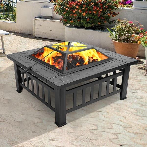 belupai Portable Courtyard Metal Fire Bowl with Accessories Black