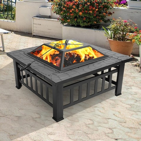 32-inch Metal Portable Courtyard Fire Pit with Accessories