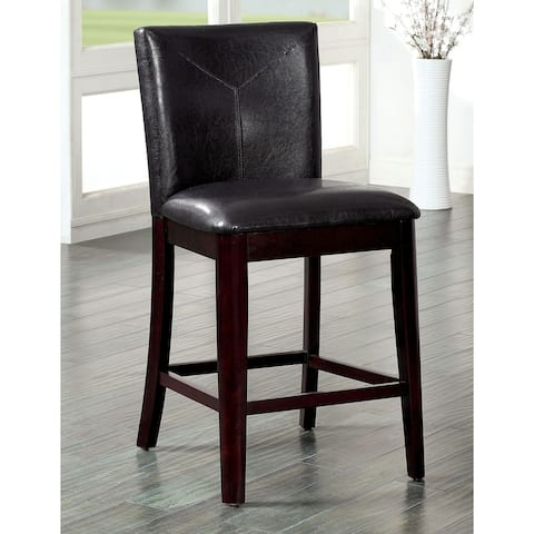 Furniture of America Weal Contemporary Walnut Counter Chair Set of 2