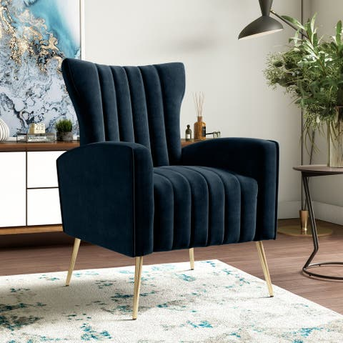 Gracewood Hollow Myrin Channel-Tufted Upholstered Arm Chair