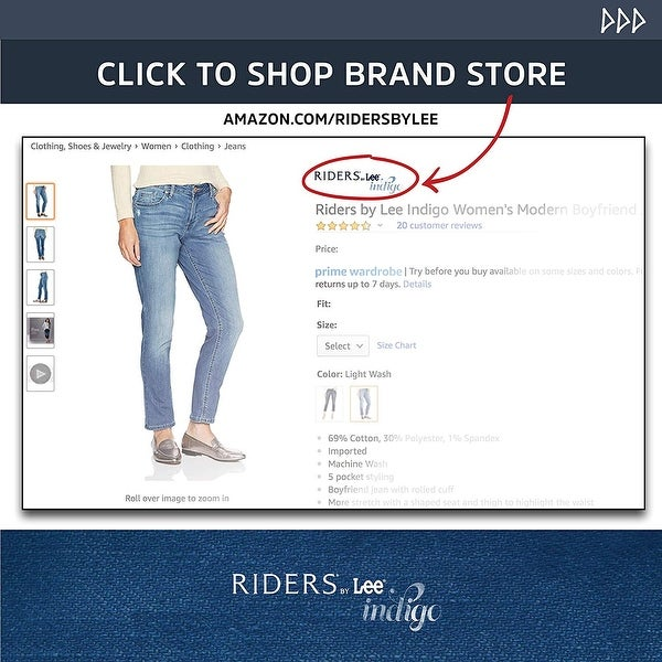 Riders by Lee Indigo Womens Plus Size Stretch No Gap Waist Bootcut Jean