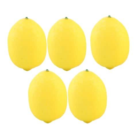 House Table Decor Foam Artificial Lemon Design Emulation Fruit Mold 5pcs - Yellow