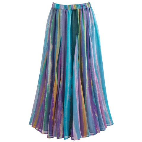 Women's Pastel Stripe Georgette Skirt - Elastic Waist Midi Length