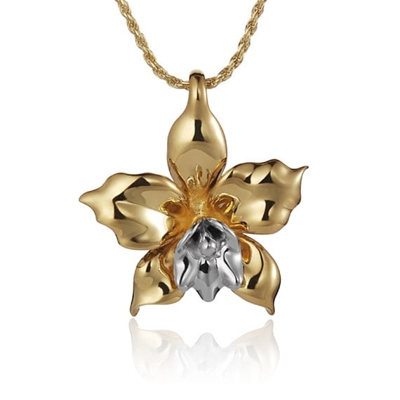 "Orchid Necklace 14k Gold Pendant 18"" Chain"