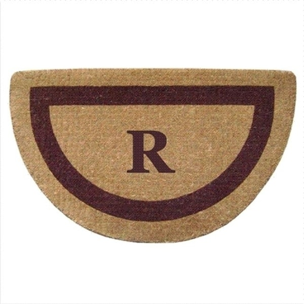 Nedia Home 02055R Single Picture - Brown Frame 22 x 36 In. Half Round Heavy Duty Coir Doormat - Monogrammed R