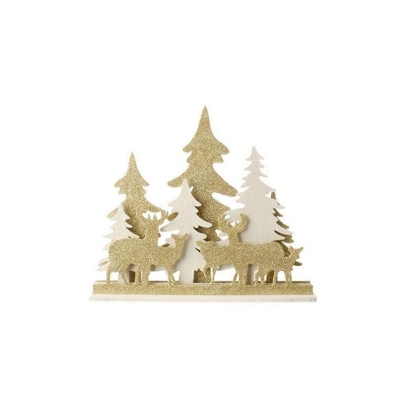 """16.5"""" Gold & White LED Lighted Deer and Tree Silhouette Table Top Christmas Decoration"""
