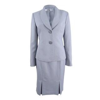 Le Suit Women's Chevron-Print Skirt Suit - grey stone