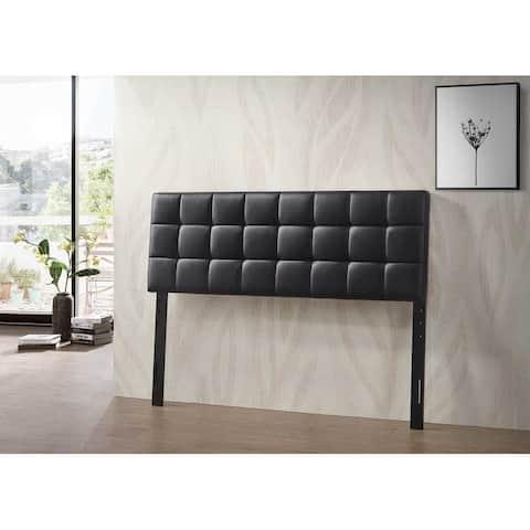 Varya Tufted Faux Leather Upholstered Panel Headboard (Brown/ Black)