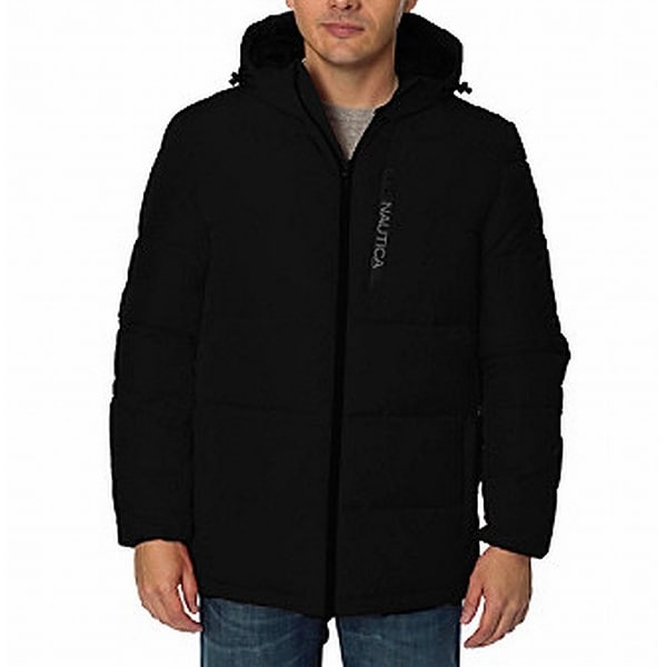 Nautica Black Mens Size Medium M Hooded Full Zip Parka Jacket