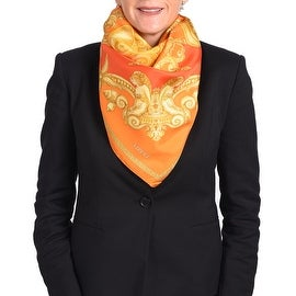 Versace Women's Gold Ornamental Printed Silk Scarf Orange Red
