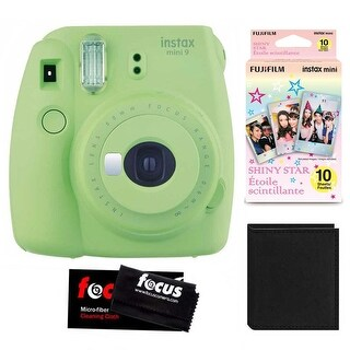 Fujifilm Instax Mini 9 (Lime Green) w/ Shiny Star Film (1-PK) & Photo Wallet
