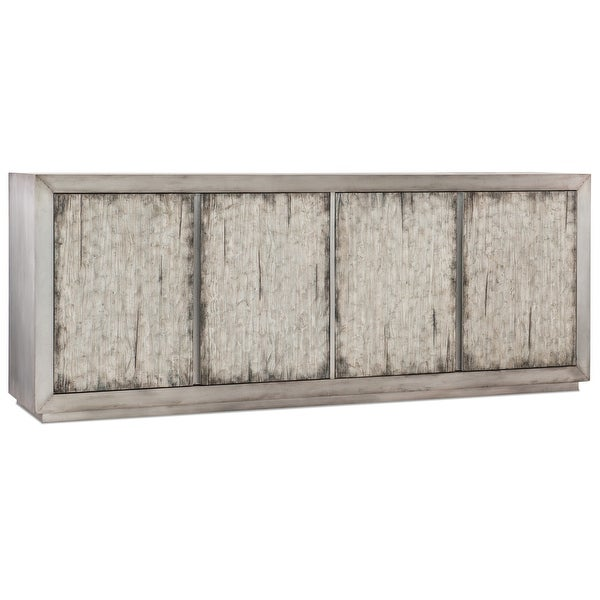 """Hooker Furniture 638-85400 Claydon 88"""" Wide 2 Shelf Pine Wood and Aluminum Accent Cabinet from the Melange Collection"""