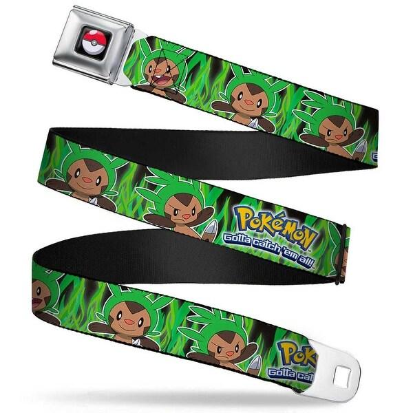 Pok Ball Full Color Black Pokmon Chespin Poses Grass Black Greens Webbing Seatbelt Belt