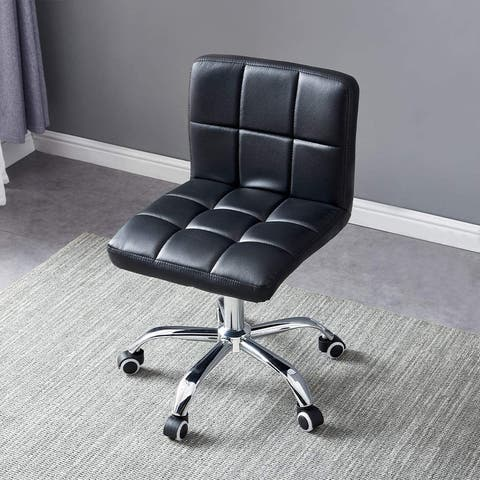 PU Leather Swivel Chair Rolling Stool with Mid Back, Black Rhombus