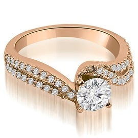 0.83 cttw. 14K Rose Gold Twisted Split Shank Round Cut Diamond Engagement Ring