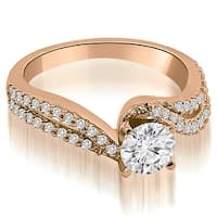 0.83 cttw. 14K Rose Gold Twisted Split Shank Round Cut Diamond Engagement Ring