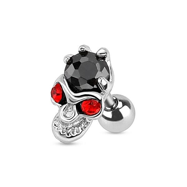 Red Eyed Skull with Hand Holding Black Gem 316L Surgical Steel Cartilage/Tragus Barbell (Sold Ind.)
