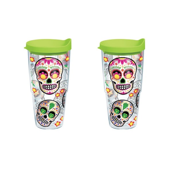 9835a846288 Colorful Sugar Skull 24 oz Tumbler with lid 2 Pack
