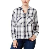 Melissa McCarthy Seven7 Womens Plus Button-Down Top Plaid Long Sleeve