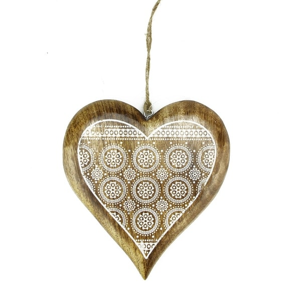 "8.5"" Alpine Chic Mango Wood Heart with Decorative Snowflake Design Hanging Christmas Ornament - brown"