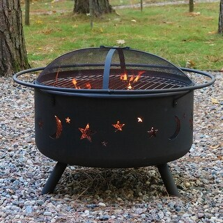 Sunnydaze Cosmic Fire Pit with Cooking Grill and Spark Screen - 30-Inch