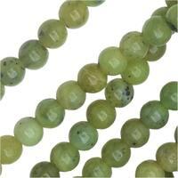 Dakota Stones Gemstone Beads, Green Jade, Round 4mm, 8 Inch Strand