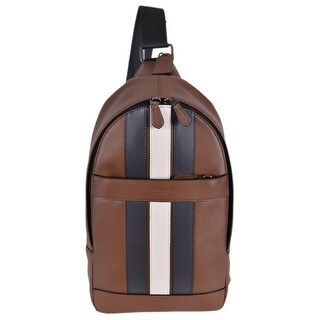 "Coach Men's F23215 Charles Leather Varsity Stripe Sling Day Pack Bag - 13"" x 8"" x 2.75"""