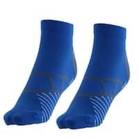 Unisex Exercise Traveling Cotton Blend Cushion Sport Ankle Socks Blue Pair