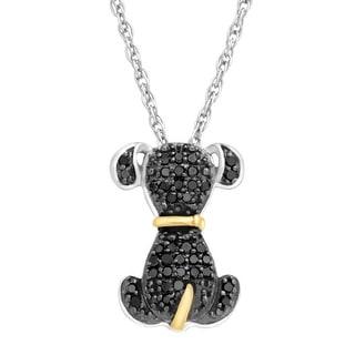 1/5 ct Black Diamond Dog Pendant in Sterling Silver & 14K Gold