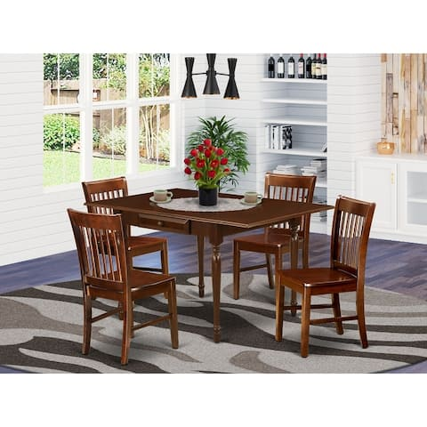 Wooden Drop Leaf Wooden Dining Table and Hardwood Seat Dining Chairs (Number of Chairs Option)