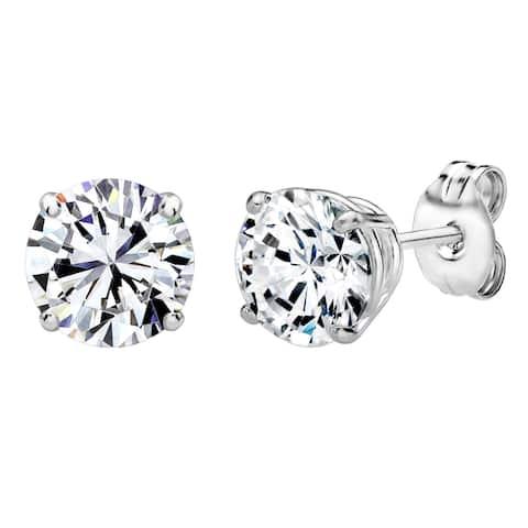 Solstice Sterling Silver Round-cut Swarovski Zirconia Stud Earrings