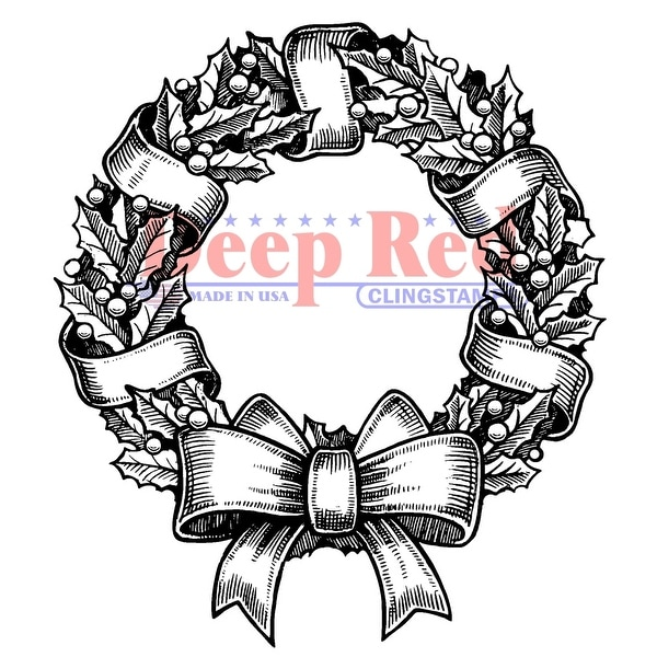 "Deep Red Cling Stamp 2.75""X3""-Holly Wreath"