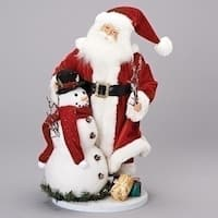 "19"" Santa and Snowman Tabletop Christmas Decor Figurine with Gifts"