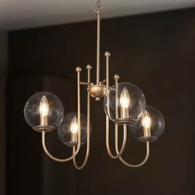 Modern Gold 4-light Chandeliers Globe Glass Curved Arms for Kitchen, Dining Room - D21.5'' x H84.5''
