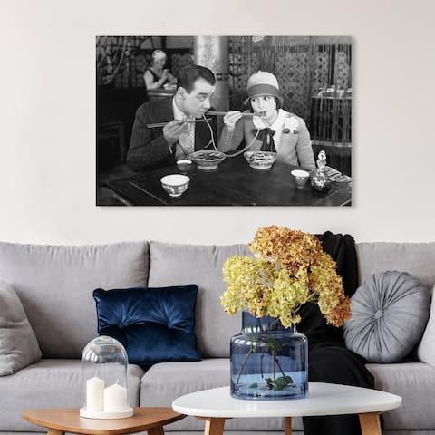 Wynwood Studio 'Romantic Dinner' People and Portraits Wall Art Canvas Print Couples - Black, White