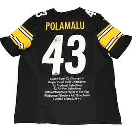 Troy Polamalu Signed Pittsburgh Steelers Nike Authentic Black Jersey w/ Embroidered Stats ()