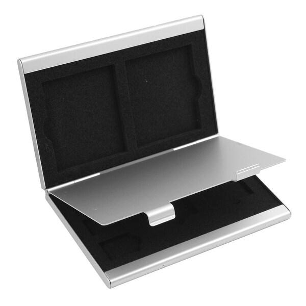 Shop Aluminum Alloy 7 Slots SIM Card Storage Container Silver Tone