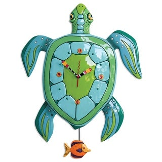 Allen Designs Sup Daddy Turtle Pendulum Wall Clock Battery Operated 21.75 Inches