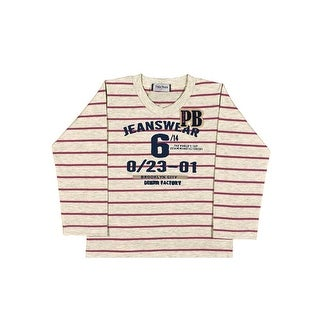 Toddler Boy Long Sleeve Shirt V-Neck Striped Tee Pulla Bulla Sizes 1-3 Years