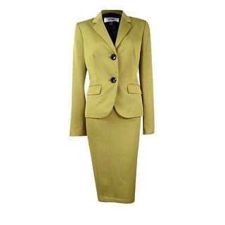 Le Suit Women's Double Button Pocket Skirt Suit - citrine/multi