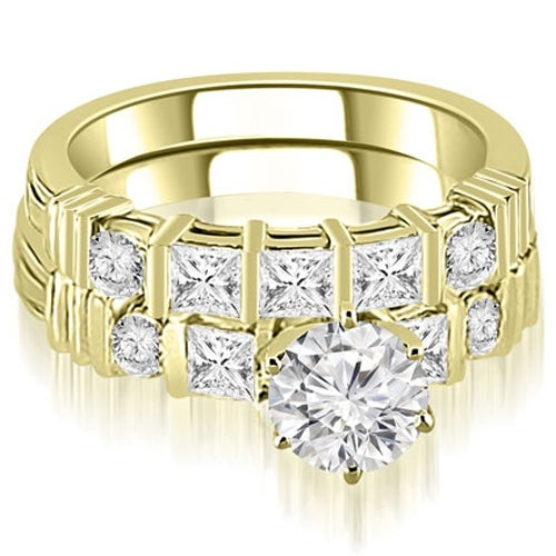 1.74 cttw. 14K Yellow Gold Princess And Round Cut Diamond Bridal Set