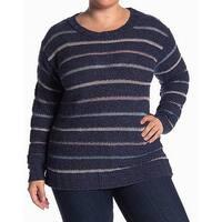 Susina Blue Striped Knit Women's Size 3X Plus Crewneck Sweater