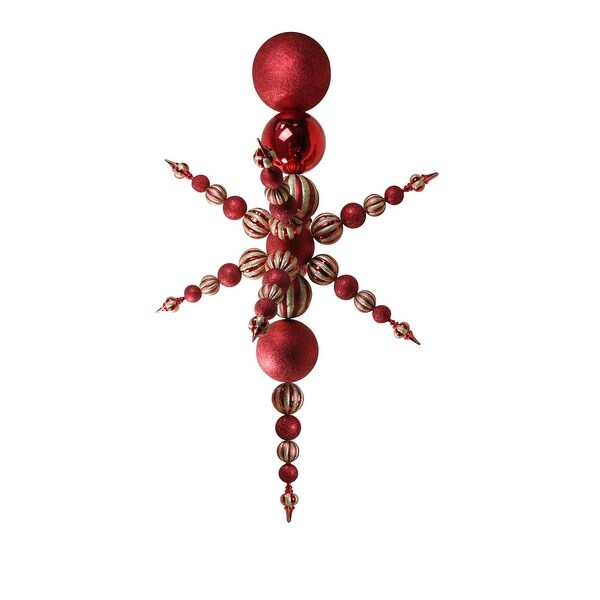 """76"""" Red and Gold Commercial Shatterproof Radical 3-D Snowflake Finial Christmas Ornament"""