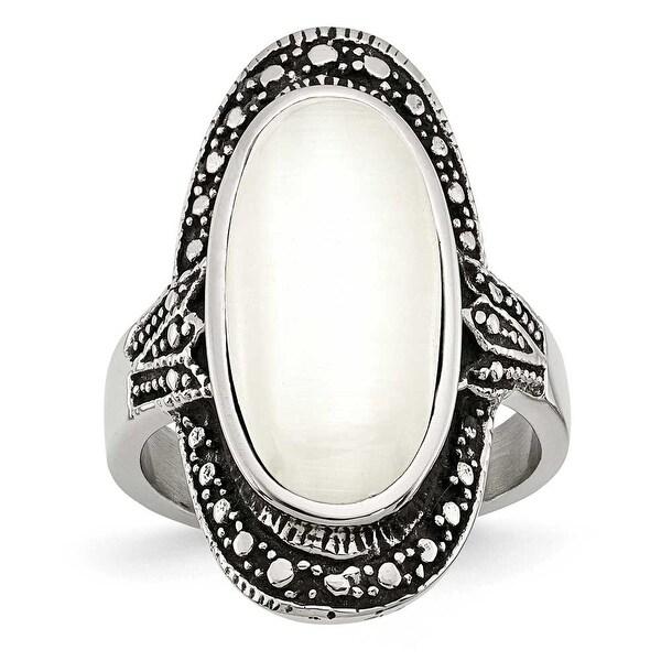 Chisel Stainless Steel Antiqued & White Cat's Eye Ring