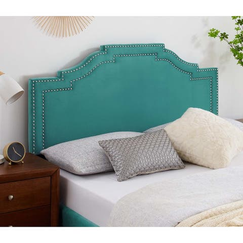 Paradise Green Velvet Upholstered Twin Size Headboard with Nailhead Trim