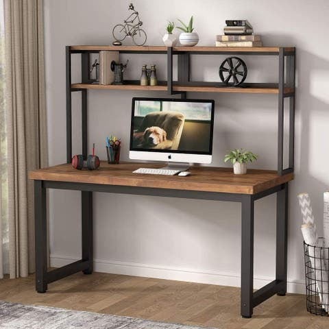 55 inch Large Wooden Computer Desk with Hutch, Study Ttable for Space Saving