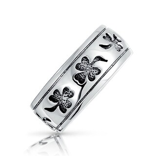 925 Silver Antique Style Black Clover Shamrock Band Ring