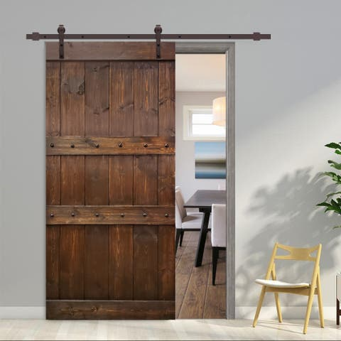 42 in x 84 in Walnut Stained 3 Panel Barn Door with Sliding Hardware