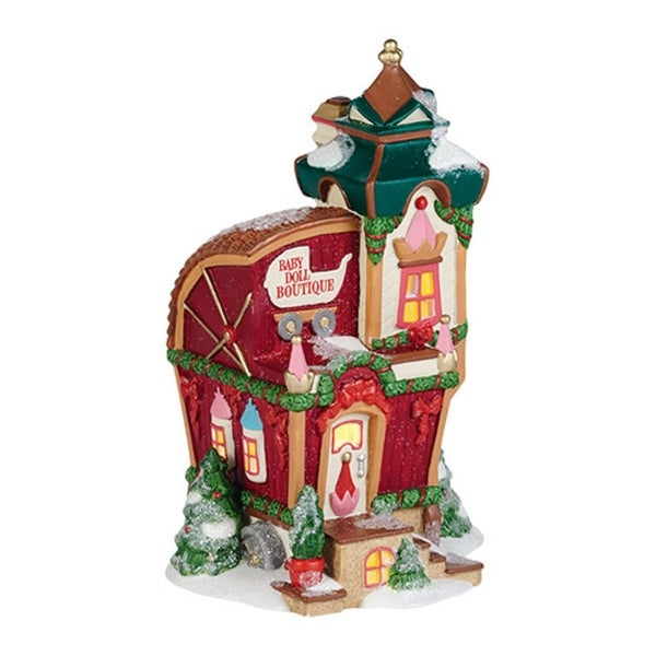 "Department 56 North Pole Toy Land ""North Pole Baby Doll Boutique"" Porcelain Lighted Building"